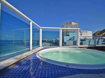Photo for Amazing 3BR oceanfront penthouse with terrace and private pool in Copacabana!