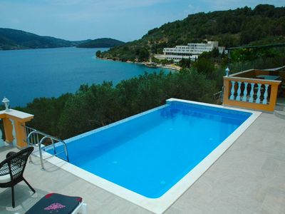 Photo for Villa on Korcula with seaview,private swimming pool,terrace with BBQ,beach 70m