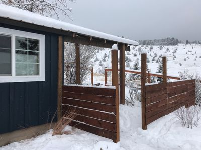 New privacy fence around cottage (almost completed).