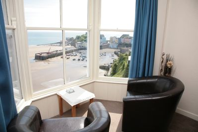 Lounge window overlooking Beach and Harbour