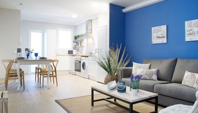 Photo for Homes in Blue - Modern 2 bedroom, 1 bathroom apartment, in the fantastic neighborhood of Sant Antoni. 5 minutes from the center of Barcelona.