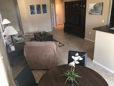 Spacious great room with big screen tv