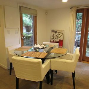 Dining area in the garden apartment.