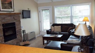 Photo for Spacious Suite with Grand Fireplace + Deck | Access to Pool & Hot Tub