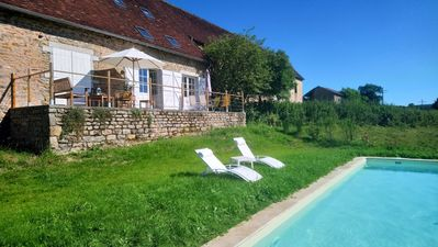 Photo for Near Cluny, in South Burgundy, newly-renovated holiday home with panoramic view