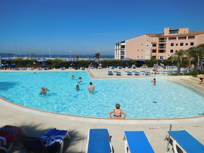 Photo for Superb T2 sea view-pool and 100m from the beach