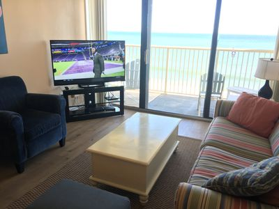 """55"""" Samsung LED HDTV & Sony Blu-ray player in oceanfront living area."""