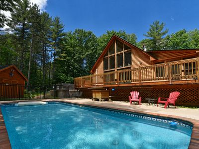 Photo for Log Cabin with New Hot Tub 3 Bedroom, 2 Bath, Sleeps 8 - Private Pool!