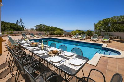 Gorgeous, spacious pool terrace. BBQ and outdoor dining. Plenty of sun loungers.