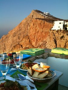 Photo for 800 year old Castle house on the cliff with seaview- Folegandros Chora Castro