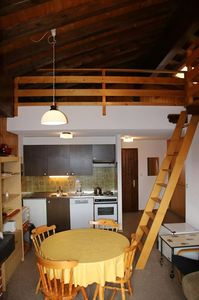 """Photo for 2*, 1-bedroom-apartment for 6 people next to the """"l'Ours"""" skilift. Entrance hall with 1x2 folding ou"""