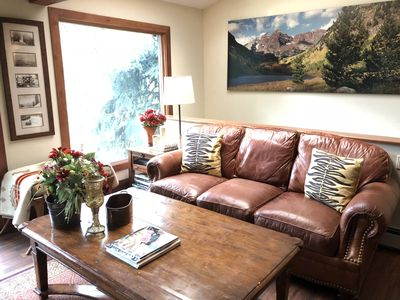 Living room-picture window and new wall art-large photo Maroon Bells