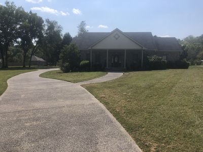 Family style one level home with a modern flair on a one acre lot and very nice.