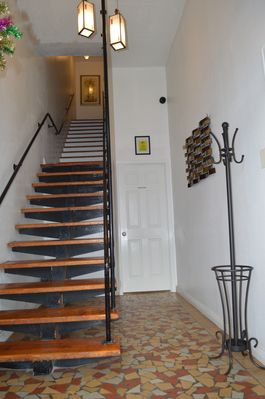 Our entryway, staircase leads you to our home on the second floor.