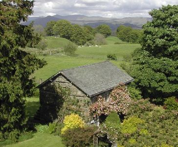 Hatters Cottage from the west; mountains above Windermere beyond