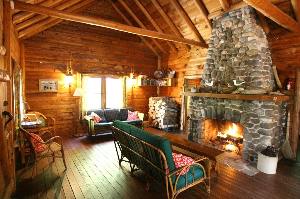 cabin with fireplace.  Cabin w Private Beach Views of Mountains HomeAway Cherryfield