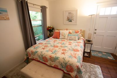 Queen size bed with bench