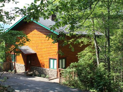 Photo for 5 bedroom configured for 3, Luxury cabin with a great mountain view!