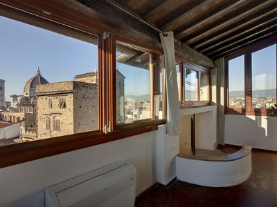 Torre Donati luxury apartment in Florence, spectacular view from the top of a medieval tower