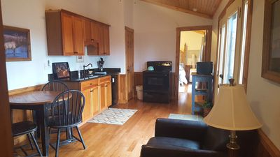 Microwave, Oven and small frig available in our Elkins WV cabin rental.