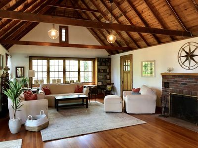 Welcome to the spacious and inviting living room at the Beach Cottage!