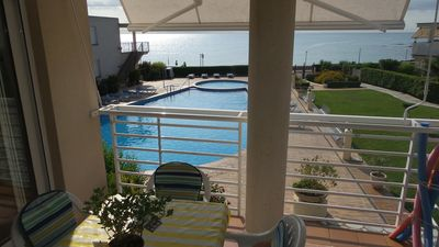 Photo for SEA VIEW APARTMENT WITH COMMUNITY SWIMMING POOL 20M. BEACH 4-5 PEOPLE