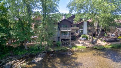 Photo for Helen Riverfront 1BR 1BA Condo | Balcony Overlooking River | Downtown Helen