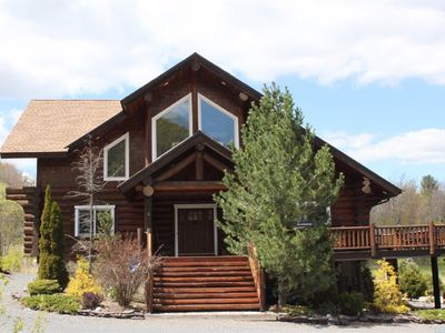 Photo for Magnificent Custom Log Home with Breathtaking Views on Lake and Slopes