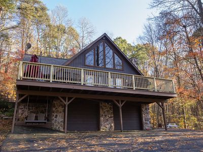 Photo for Private retreat with Hot Tub, wi-fi, multiple decks.  Kids love the treehouse!