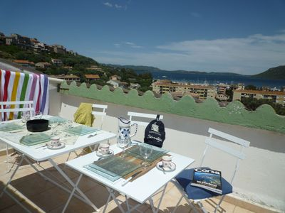 Photo for Porto Vecchio apartment with terrace, view Gulf 10min. beaches