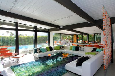 Walls of glass allow views from every angle. Visually opens the space.