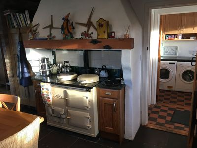 AGA cooker (electric) with Utility Room in the background.