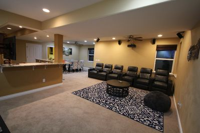 Basement theatre seating, each chair is a recliner with cup holder and tray
