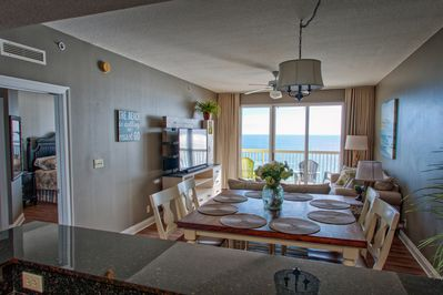 View from kitchen of living room and gulf