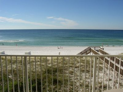 View of beach from private 3rd floor balcony