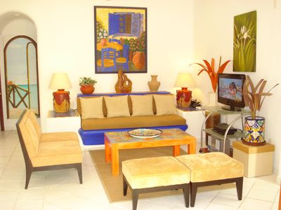 Photo for Enjoy A Lovely Seaside Mexican/Caribbean Style Condo. Fibre Optic WIFI. Big Pool