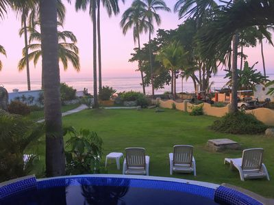 Sunset from our private jetted tub and front deck