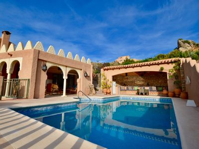 Photo for Moorish 3 bed villa, private pool, mountain views, gardens, wifi. Sierra Cabrera