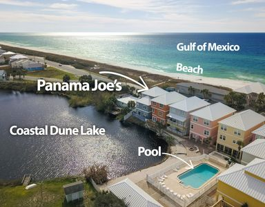 Panama Joe's is right across from a private beach which means views for miles!