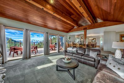 Mt. Tallac as seen from living room. Two 6' sofas make comfortable lounging.