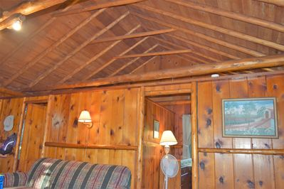 Look at the beauty of the knotty-pine wood of our log cabins!