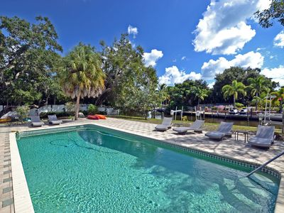 Photo for Spacious Siesta Key Canal Front Vacation Rental House with Large Heated Pool