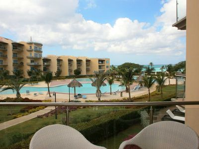 Photo for BEACHFRONT - EAGLE BEACH - OCEANIA RESORT - Ambiente Elegante 2BR condo - BC256