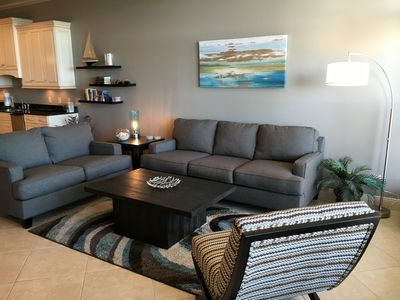 Great gathering space with sofa sleeper