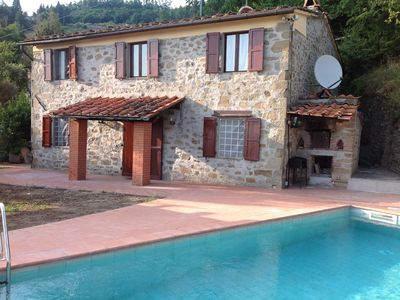 Photo for Farmhouse with rustic charm and fantastic panoramic views of Tuscan countryside.