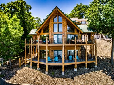 Photo for Beautiful Lakefront Lodge w/ Private Dock and Amazing 180 View from Two Decks
