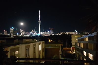 View of the city lights and Victoria Park from rooftop deck
