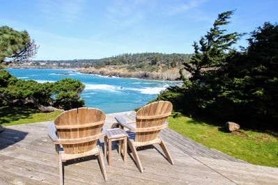back deck view of Mendocino bay