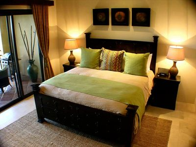 King size bed in Master bedroom.