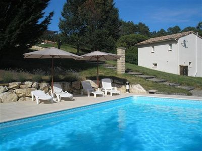 Photo for Modernised gite surrounded by peaceful meadow and forest with pool. Free Wi-Fi